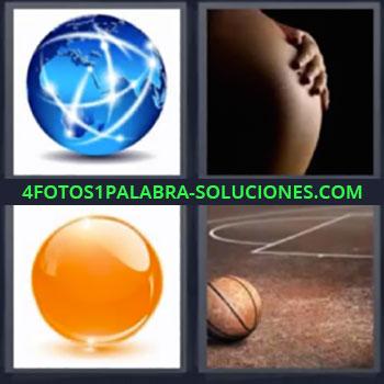 4 Fotos 1 Palabra - ocho-letras embarazada pelota de basquet, Planeta tierra, Barriga de embarazada, Canica de cristal naranja, Pelota de baloncesto.