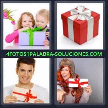 4 Fotos 1 Palabra - cinco-letras caja regalo, Niños con caja, Caja roja con lazo blanco