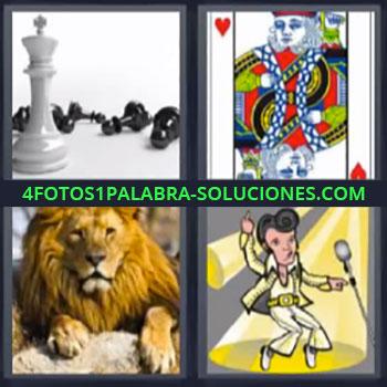 4 Fotos 1 Palabra - ocho-letras elvis, Fichas de ajedrez, Carta rey de corazones, León, Dibujo de Elvis.