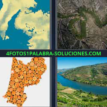4 Fotos 1 Palabra - siete-letras imagen satelital de países. Foto aérea de una zona. Río entre montañas.