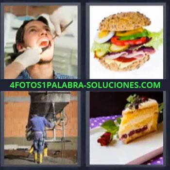 4 Fotos 1 Palabra - seis-letras dentista pastel, Hamburguesa, Albañil trabajando en obra o construcción.