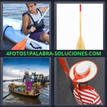 4 Fotos 1 Palabra - siete-letras kayak, embarcación, canoa, góndola