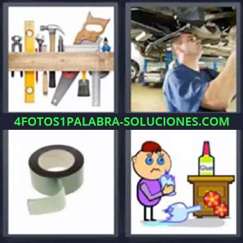 4 Fotos 1 Palabra - cinco-letras herramientas un hombre arreglando un auto, Mecánico, Cinta aislante, Dibujo niño pegando vaso roto.