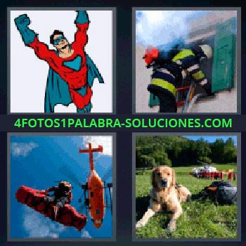 4 Fotos 1 Palabra - cinco-letras helicóptero salvamento. Superhéroe. Superman. Bombero entrando por ventana. Perro acostado en el césped.