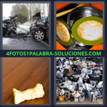 4 Fotos 1 Palabra - cuatro-letras accidente. Fregadero con cacharros sucios. Manzana comida. Basurero de tecnologia.