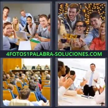 4 Fotos 1 Palabra - cuatro-letras gente reunida Grupo de estudiantes, Jóvenes brindando en fiesta, Auditorio en congreso, Reunión comercial.