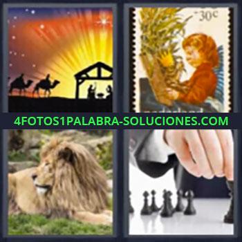 4 Fotos 1 Palabra - reyes magos león, Sello, León, Fichas de ajedrez.