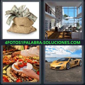 4 Fotos 1 Palabra - saco de dinero, Casa lujosa, Buffet de comida, Coche deportivo amarillo, Saco con dinero.