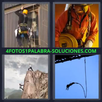 4 Fotos 1 Palabra - seis-letras bombero alpinista, Limpiando cristales edificio, Haciendo puenting