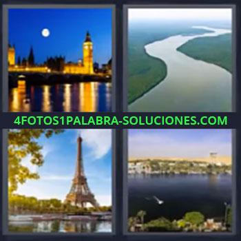 4 Fotos 1 Palabra - Paris, Ciudad Londres, Selva, Torre Eiffel París, Ciudad con lago.