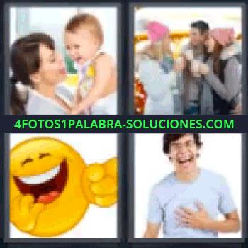 4 Fotos 1 Palabra - seis-letras carita amarilla, Madre con bebé, Dos chicas y un chico tomando bebida caliente, Carita feliz, Chico riendo.