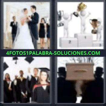 4 Fotos 1 Palabra - siete-letras boda, Podio con campeones, Graduación, Entierro.