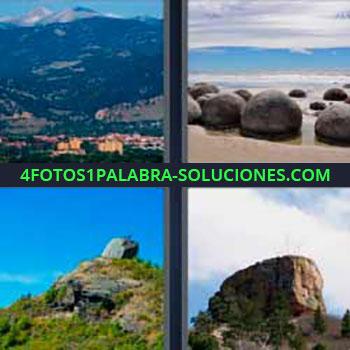 4 Fotos 1 Palabra - pueblo montañas. Piedras redondas en la playa. Cima de montaña. Rocas peñón.