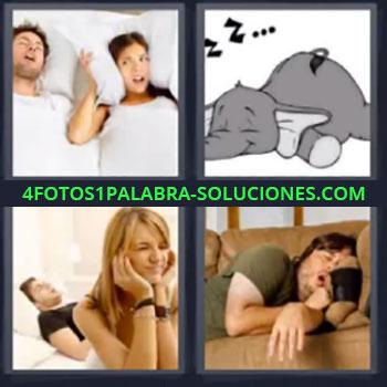 4 Fotos 1 Palabra - ocho-letras elefante durmiendo, Mujer tapandose oídos con almohada, Hombre durmiendo