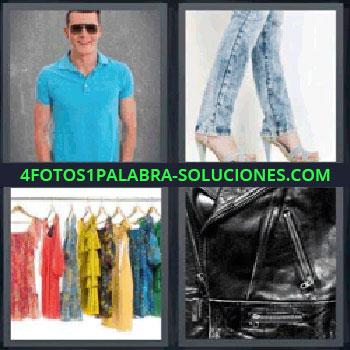 4 Fotos 1 Palabra - ocho-letras hombre playera azul, Chico con camiseta azul y gafas de sol, piernas de chica con vaqueros y sandalias de tacón, vestidos colgados en perchas, chaqueta de cuero negra.