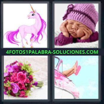 4 Fotos 1 Palabra - unicornio, Bebé con gorro de lana dormido, Ramo de flores, Pies de una chica en un coche descapotable.