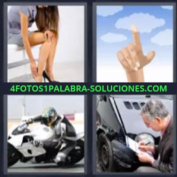 4 Fotos 1 Palabra - motocicleta, Mujer los zapatos le hacen daño, Dedo tocando el cielo, Perito en accidente