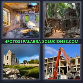 4 Fotos 1 Palabra - ocho-letras edificios destruidos, Grua roja destruyendo edificio