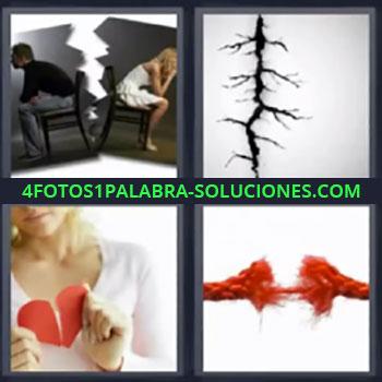 4 Fotos 1 Palabra - cinco-letras corazon roto pareja separada ,Pareja triste separada, grieta en la pared, chica con corazón a la mitad de papel rojo, cuerda rompiéndose.