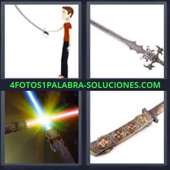 4 Fotos 1 Palabra - ocho-letras espada, Dibujo chico con espada, Espada, Espadas láser, Puñal