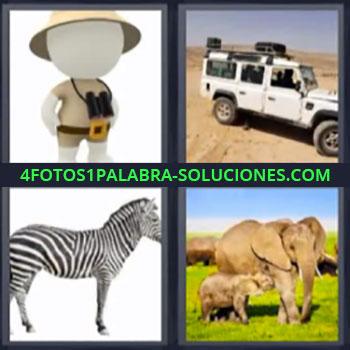 4 Fotos 1 Palabra - cuatro-letras cebra. Muñeco con prismáticos. Carro Jeep o Land Rover todo terreno o 4 x 4. Elefantes.