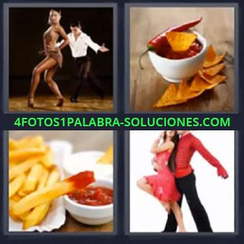 4 Fotos 1 Palabra - cinco-letras bailando , Taza con nachos, Patatas fritas y ketchup, Pareja bailando