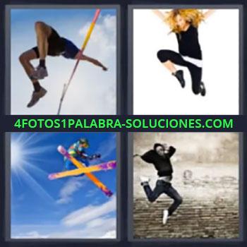 4 Fotos 1 Palabra - ocho-letras esqui alpino, Salto de pertiga, Mujer corriendo