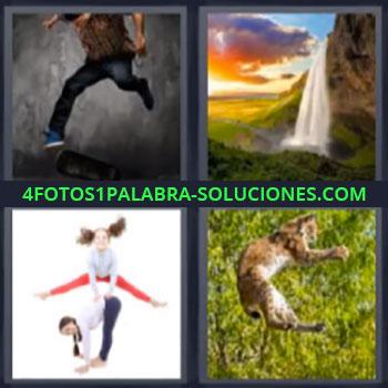 4 Fotos 1 Palabra - ocho-letras gato saltando, Hombre corriendo, Catarata o cascada de agua, Niñas jugando, Felino saltando