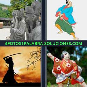 4 Fotos 1 Palabra - ocho-letras estatuas chinas orientales. Dibujo guerrero japonés con espada. Guerrero con katana al atardecer. Figura china o japonesa.