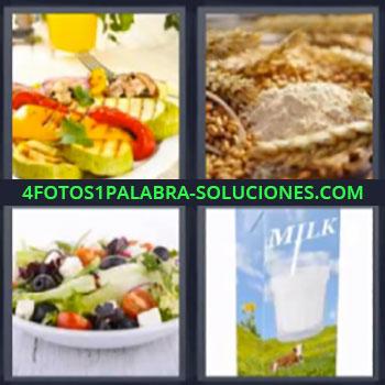 4 Fotos 1 Palabra - ocho-letras ensalada leche, verduras asadas o a la plancha, cereales