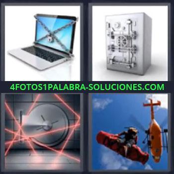 4 Fotos 1 Palabra - tres-letras laptop con cadenas, Computadora portatil, Caja fuerte, Helicoptero