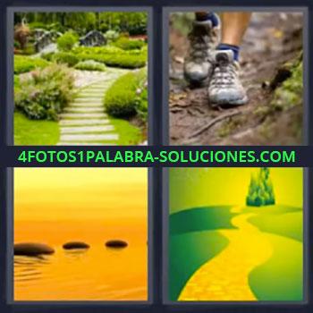 4 Fotos 1 Palabra - seis-letras jardin, Camino en jardín, Pies caminando, Piedras en agua, Sendero que lleva al palacio o castillo