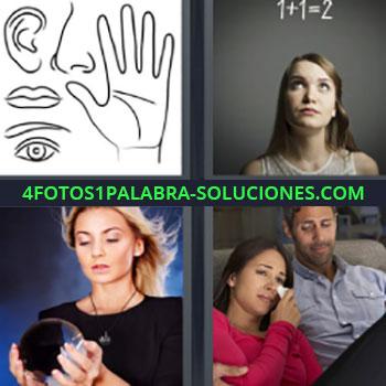 4 Fotos 1 Palabra - ocho-letras dibujos nariz oreja mano labios ojo. 1+1= 2. Mujer con bola de cristal. Pareja mujer llorando.