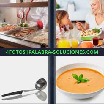 4 Fotos 1 Palabra - seis-letras cucharón. Cocinero. Madre e hija comiendo. Plato con crema o sopa.