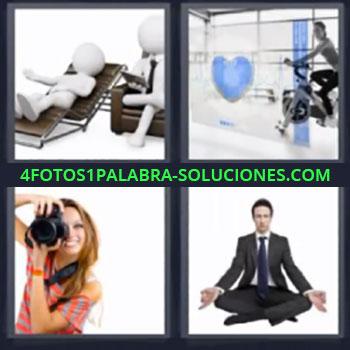 4 Fotos 1 Palabra - mujer fotografa hombre meditando, Dibujo muñecos blancos, Bicicleta fija o estatica