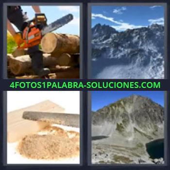 4 Fotos 1 Palabra - montañas madera, Motosierra, Montañas