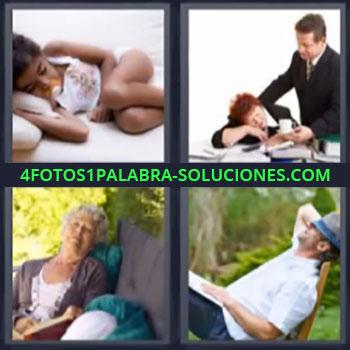 4 Fotos 1 Palabra - ocho-letras durmiendo. Niña acostada. Mujer dormida en oficina. Señora mayor descansando. Señor dormido.