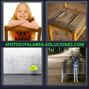 4 Fotos 1 Palabra - niña, Niña sonriendo, Silla rota, Habitación con silla verde, Butacas en auditorio