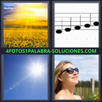 4 Fotos 1 Palabra - Solución girasoles, Paisaje con girasoles, Notas musicales, Cielo azul con sol, Chica con gafas de sol.