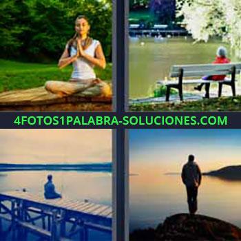 4 Fotos 1 Palabra - mujer meditando. Sentada en banco frente a lago. Pescando en el muelle. Observando el horizonte en el mar.