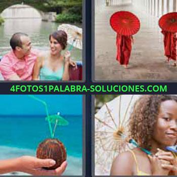4 Fotos 1 Palabra - siete-letras agua de coco y popote. Pareja barca por el río. Persona toda de rojo. Chica con paraguas para el sol.