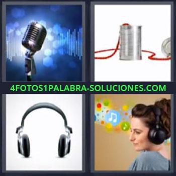 4 Fotos 1 Palabra - microfono, Auriculares o cascos, Audifonos, Mujer escuchando musica