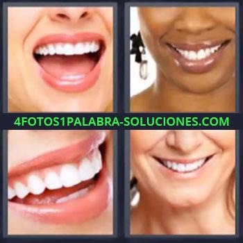 4 Fotos 1 Palabra - seis-letras boca sonrisa, Bocas de mujeres, Dientes muy blancos.