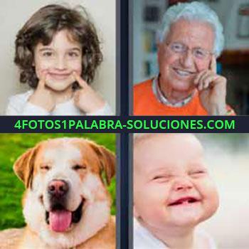 4 Fotos 1 Palabra - niña sonriendo. Señor de pelo blanco sonrisa. Perro. Bebe riendo.