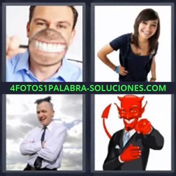 4 Fotos 1 Palabra - mujer sonriendo ,chico sonriendo con lupa, chica con la mano en la cintura sonriendo, hombre despeinado cruzando brazos riéndose, diablo señalando riéndo.
