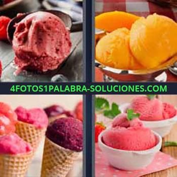 4 Fotos 1 Palabra - siete-letras helado hielo. Helado de limón. Sorbetes de fresa. Granizado. Polo de mango.