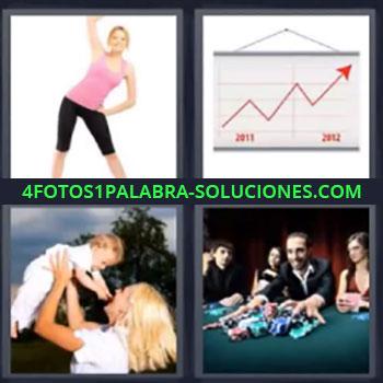 4 Fotos 1 Palabra - seis-letras grafico, Chica haciendo deporte, Mama con bebe, Chico ganando en el casino