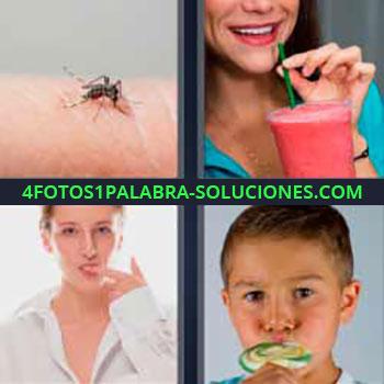 4 Fotos 1 Palabra - mosquito picando. Batido de fresa. Chupándose el dedo. Niño tomando piruleta dulce.