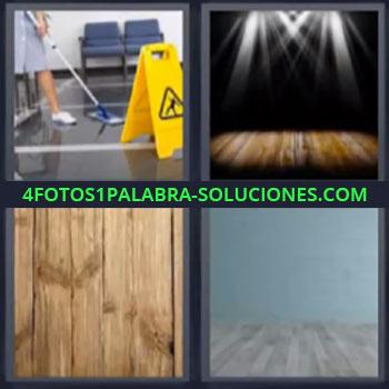 4 Fotos 1 Palabra - mujer limpiando, Escenario iluminado, Piso de madera