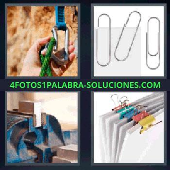 4 Fotos 1 Palabra - cinco-letras clips. Cuerda de escalada con mosquetón. Herramienta o caballete con trozo de madera. Pinzas sujetapapeles de colores.